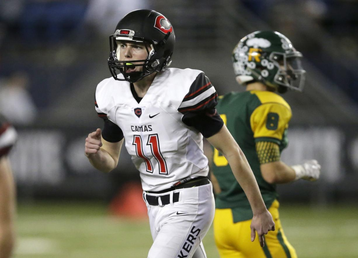 Camas kicker Michael Boyle (11) reacts after his field goal against Richland during the first half of the Washington Div. 4A high school football championship, Saturday, Dec. 3, 2016, in Tacoma, Wash. (AP Photo/Ted S.