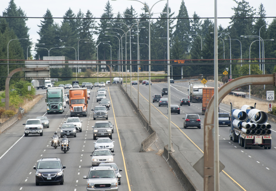 Traffic is seen along I-5 in Vancouver in August. (Natalie Behring/The Columbian)