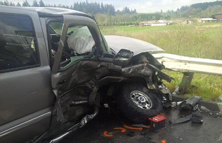 Two people were injured in a crash on state Highway 503, about a mile south of Battle Ground.
