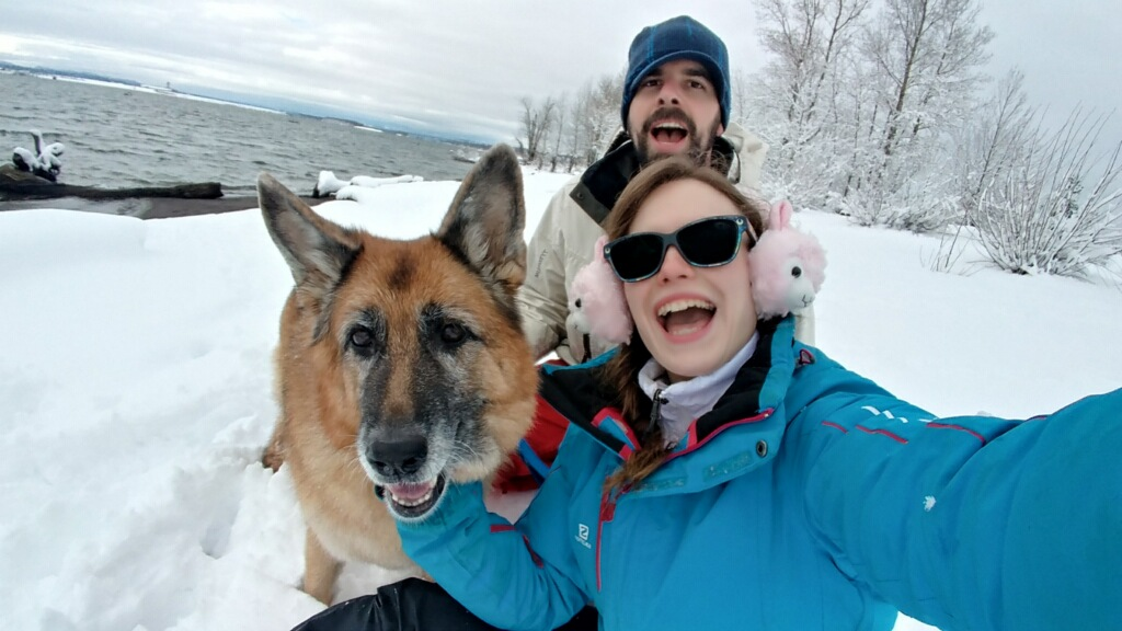 Taken of myself, my significant other Les, and one of our german shepherds Isa (ee-zuh) this was at the Vancouver boat launch.