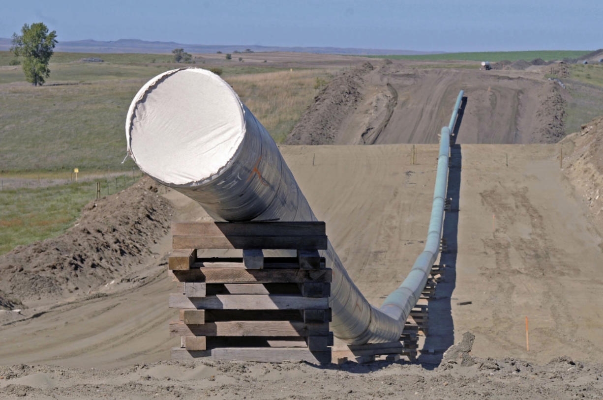 A section of the Dakota Access pipeline under construction in September near the town of St. Anthony in Morton County, N.D. (Tom Stromme/The Bismarck Tribune)