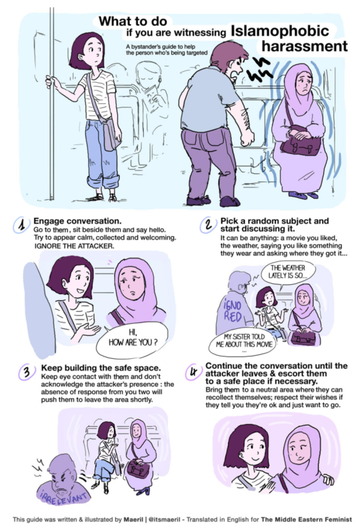 This simple guide to boxing out harassment, by the French artist and blogger Maeril, has been widely shared on social media in the last few months.