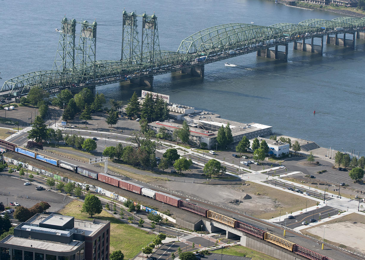 The Interstate 5 Bridge is seen near the Port of Vancouver Terminal One in May 13.
