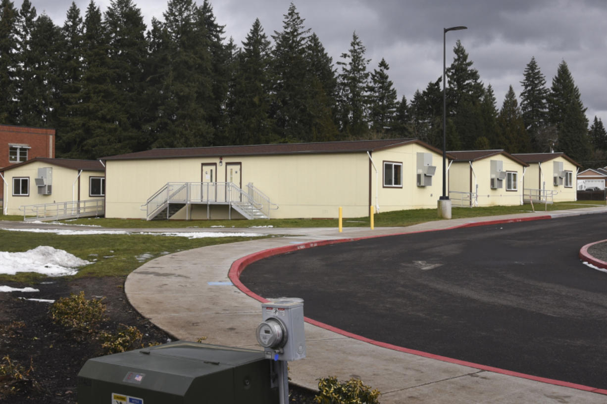 To deal with crowding, all Ridgefield schools have modular classrooms, such as these at View Ridge Middle School. Passage of Tuesday's bond measure will allow the district to deal with crowding by moving students from View Ridge to a new fifth-through-eighth-grade campus. (Ariane Kunze/The Columbian)