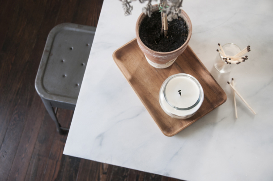 Blogger and designer Erin Souder redid her kitchen counter by painting a slab of butcher block