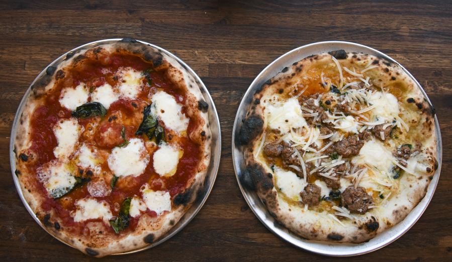 The Margherita Pizza Left And Bolognese Are Seen At Nonavo In Downtown