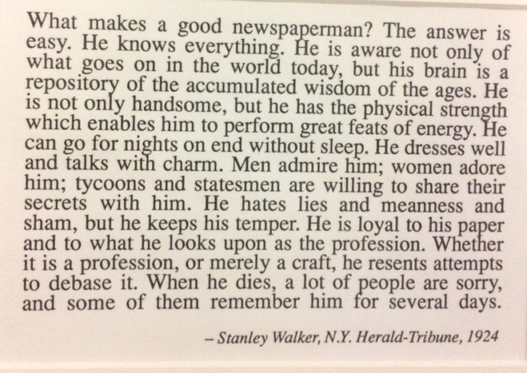 Newspaper clipping: What makes a good newspaperman?
