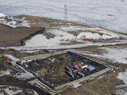 The site where the final phase of the Dakota Access pipeline will take place with boring equipment routing the pipeline underground and across Lake Oahe to connect with the existing pipeline in Emmons County near Cannon Ball, N.D.