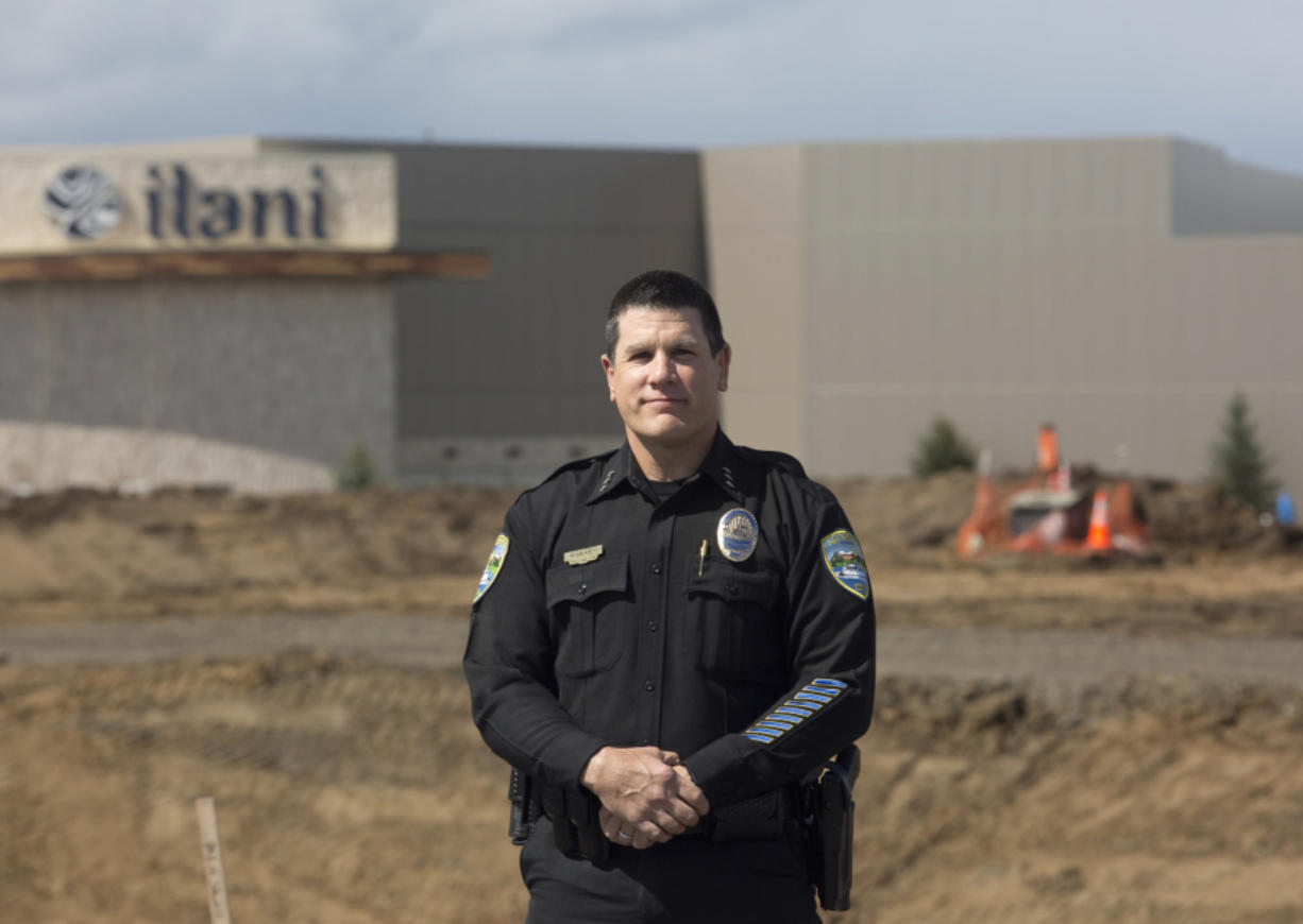 La Center Police Chief Marc Denney in front of the Ilani Casino Resort in Ridgefield on Friday.