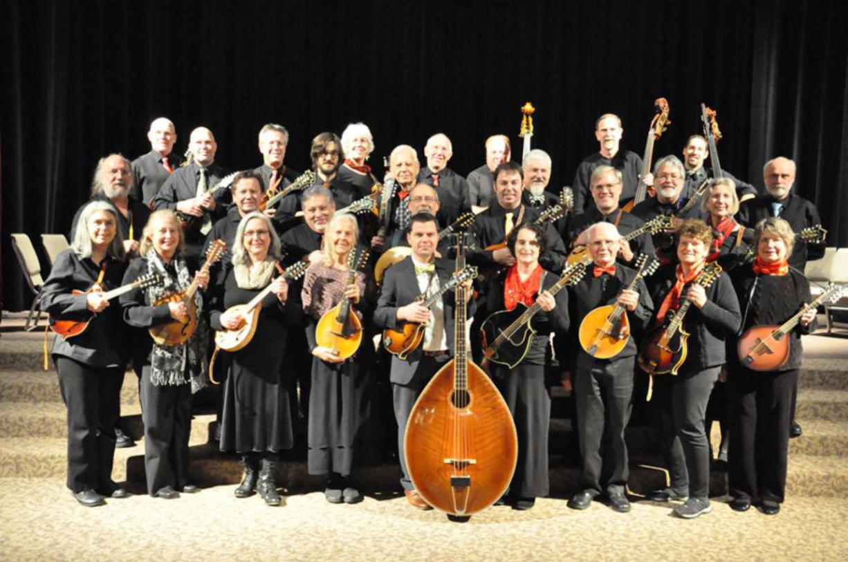 Strength in numbers: Eight strings per player plus one four-stringed mandobass equals a powerful 196 strings, all going strong as the Oregon Mandolin Orchestra visits Ridgefield's Old Liberty Theater on Sunday. (Oregon Mandolin Orchestra)