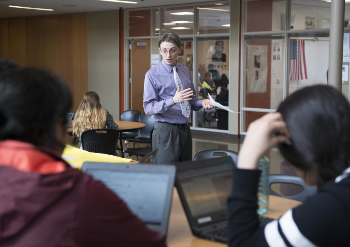 Woodland High School language arts teacher Jason Cowley is one of two teachers at the school who decided to go gradeless this year, doing away with letter and number grades. Instead, he and fellow language arts teacher, Aaron Blackwelder, give students feedback on their work and the students continue to improve upon their work until it meets the level of proficiency set for the assignment.