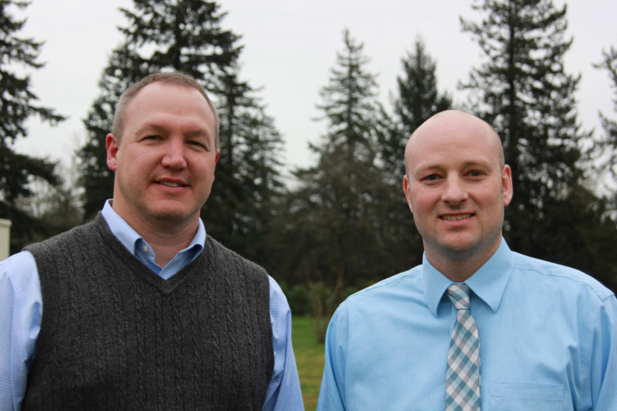 Washougal School District's board announced the hiring of two new associate principals at Washougal High School, from left, Gary McGarvie and Mark Castle.