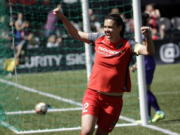 Portland Thorns forward Christine Sinclair celebrates scoring a goal during the second half of their NWSL soccer match against the Orlando Pride in Portland, Ore., Saturday, April 15, 2017. Portland won 2-0.