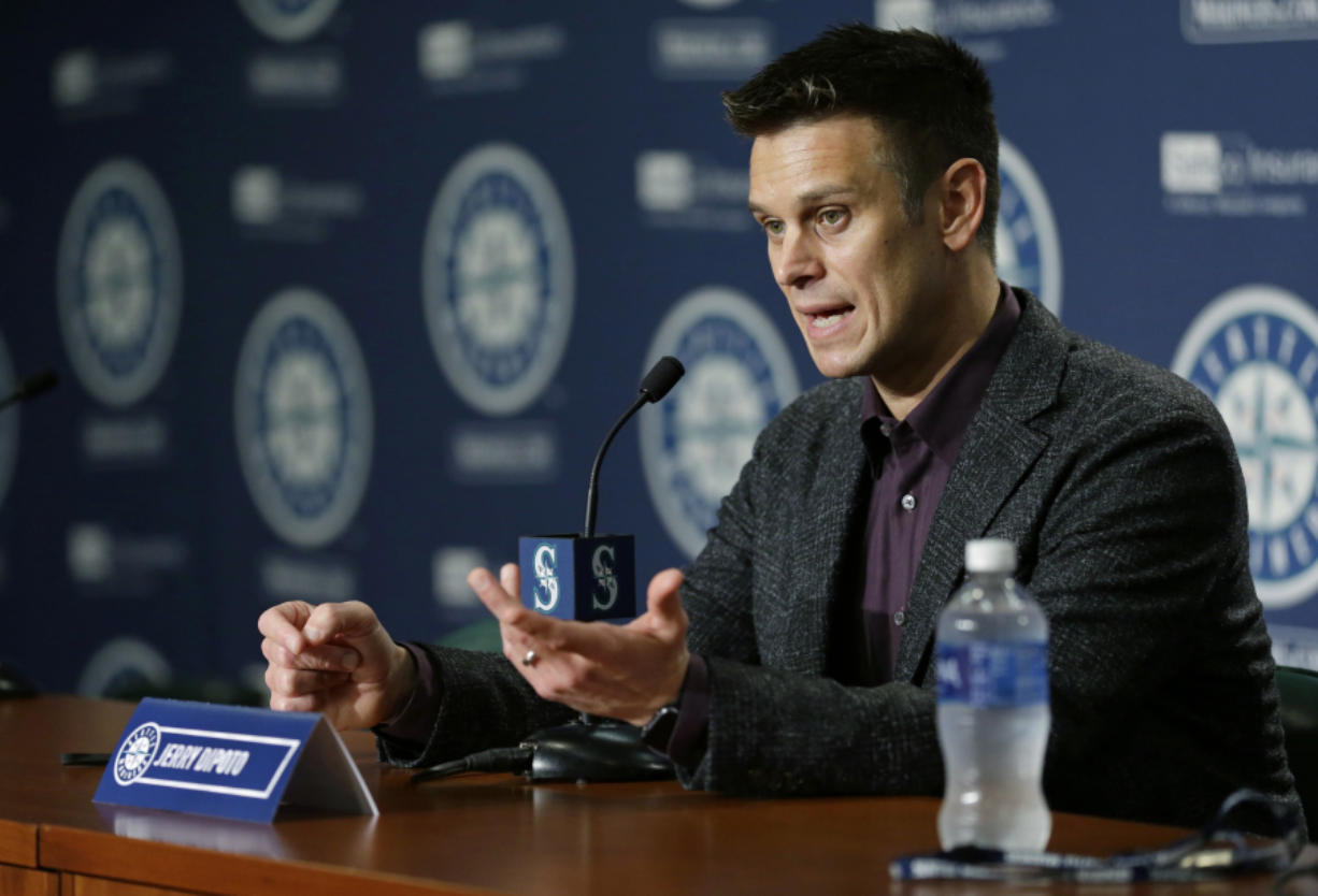 Seattle Mariners general manager Jerry Dipoto talks to reporters in Seattle, Thursday, Jan. 26, 2017, during the Mariners' annual pre-season briefing before the start of Spring Training, (AP Photo/Ted S.