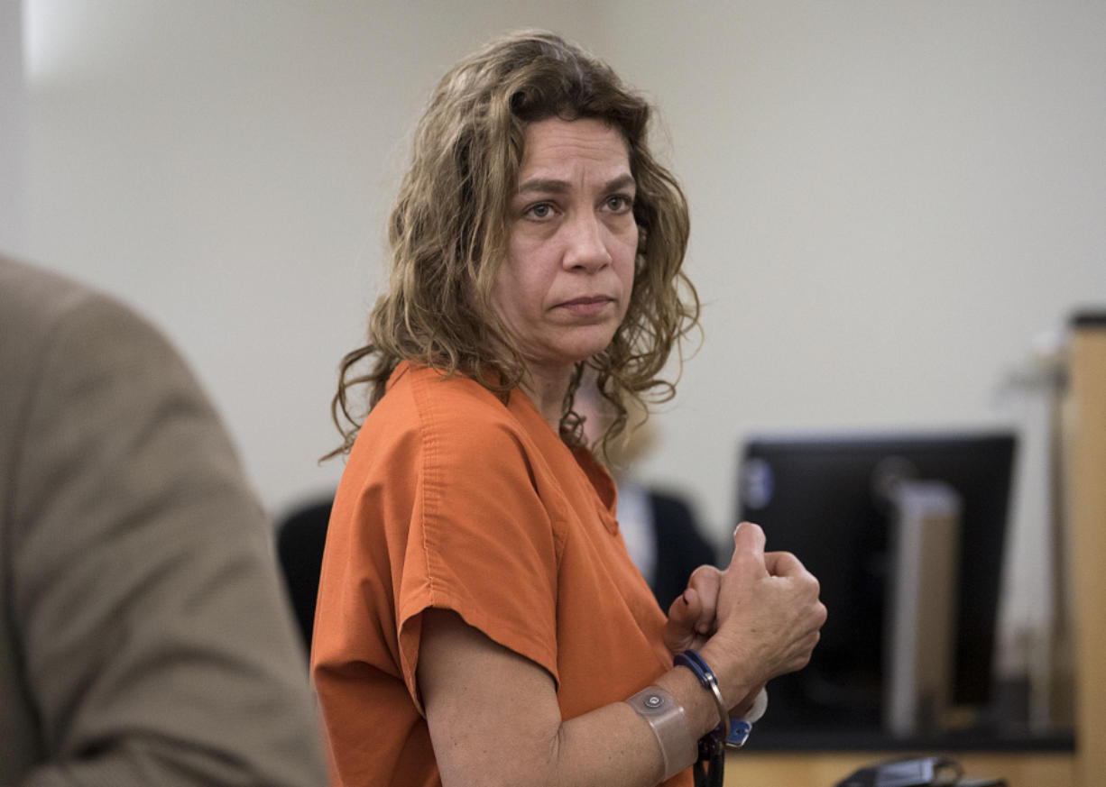 Cindy Jo Clem, 50, makes a first appearance Nov. 28 in Clark County Superior Court after intentionally setting fire to her mobile home north of La Center. Clem was sentenced Friday to nine months in jail. Amanda Cowan/The Columbian