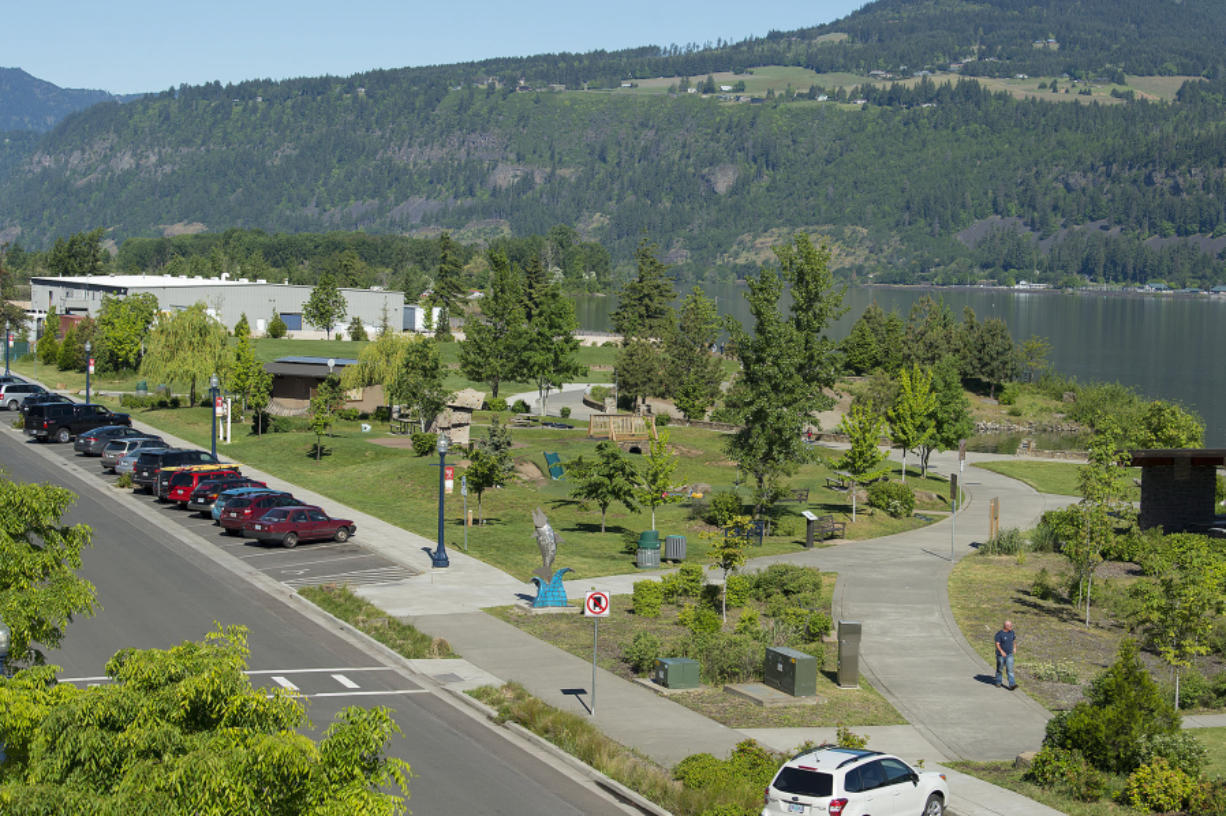 Artwork and playground equipment greet visitors to the Hood River Waterfront Park, the front porch to the river. The 6.5-acre park is on land donated to the city by the Port of Hood River, done partially to help restore public trust with the port after decades of failed planning.