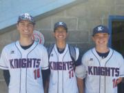 From left, Damon Casetta-Stubbs, Sam Lauderdale, and Cooper Conway of the King's Way Christian baseball team