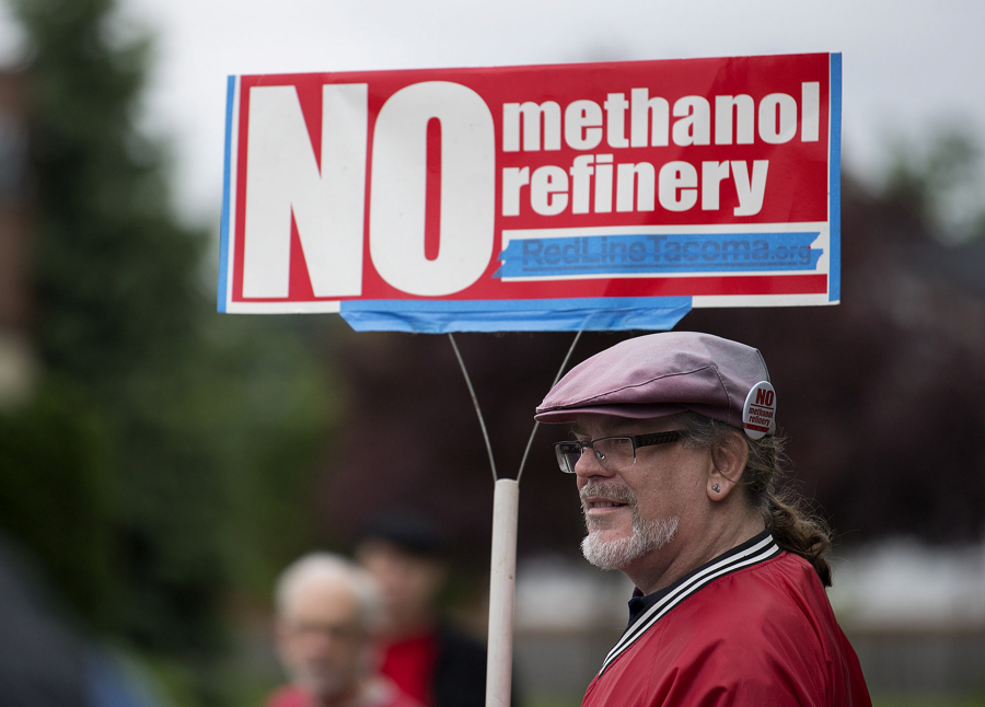 Mark Keely, of Kalama, stands with other protestors Outside Ecology's Vancouver field office in 2017. Keely and others were demonstrating against the proposed methanol refinery that could be built in Kalama. If approved it would be capable of producing 10,000 metric tons per day.