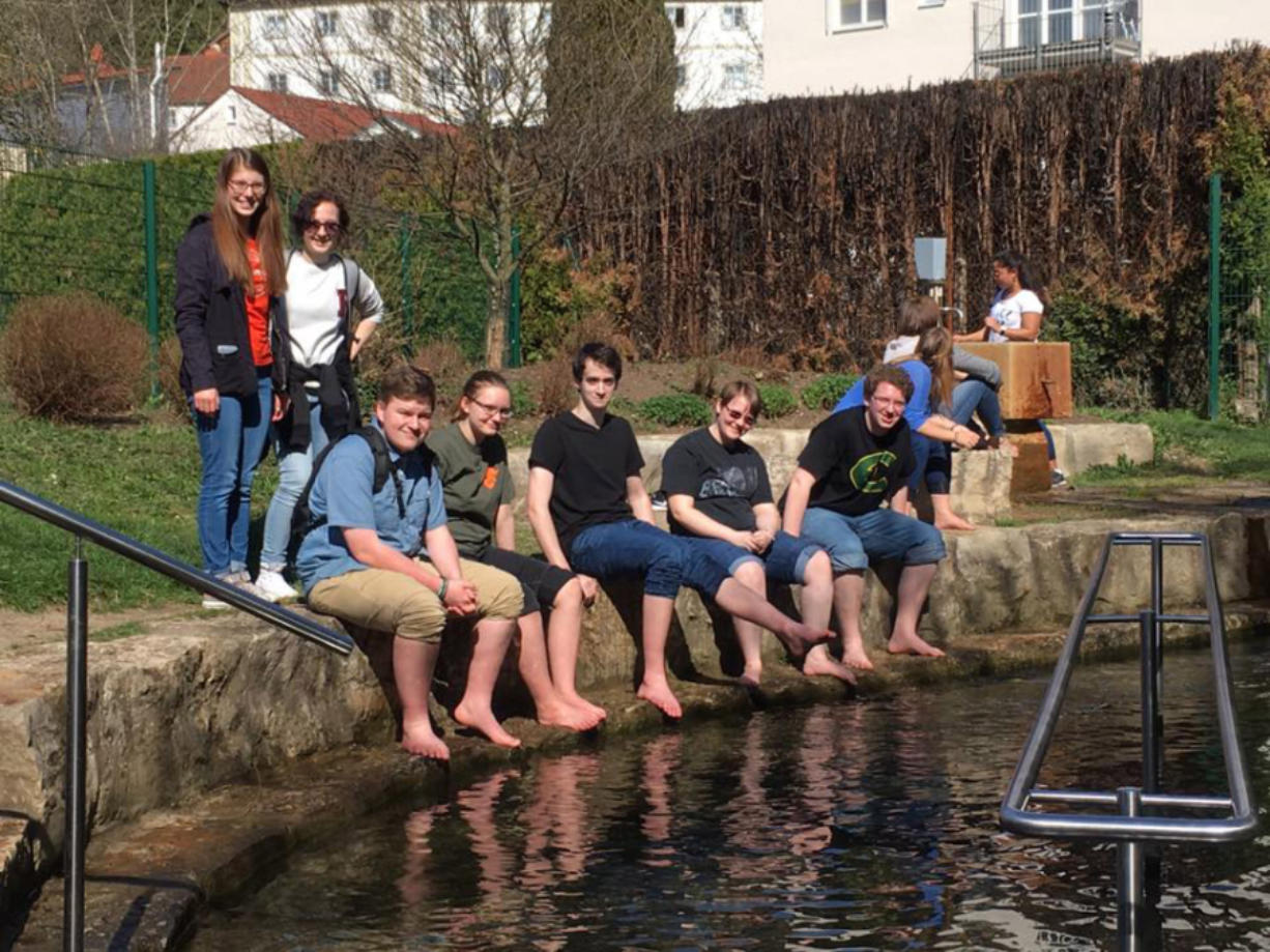 East Vancouver: Evergreen High School students, from left, Connor Avery, Jessica Ball, Kathryn Klaus, Evan Taylor and Samuel Ross enjoying some sun at Altmuhl in Eichst?tt, Germany, where they spent their spring break attending school and staying with host families.