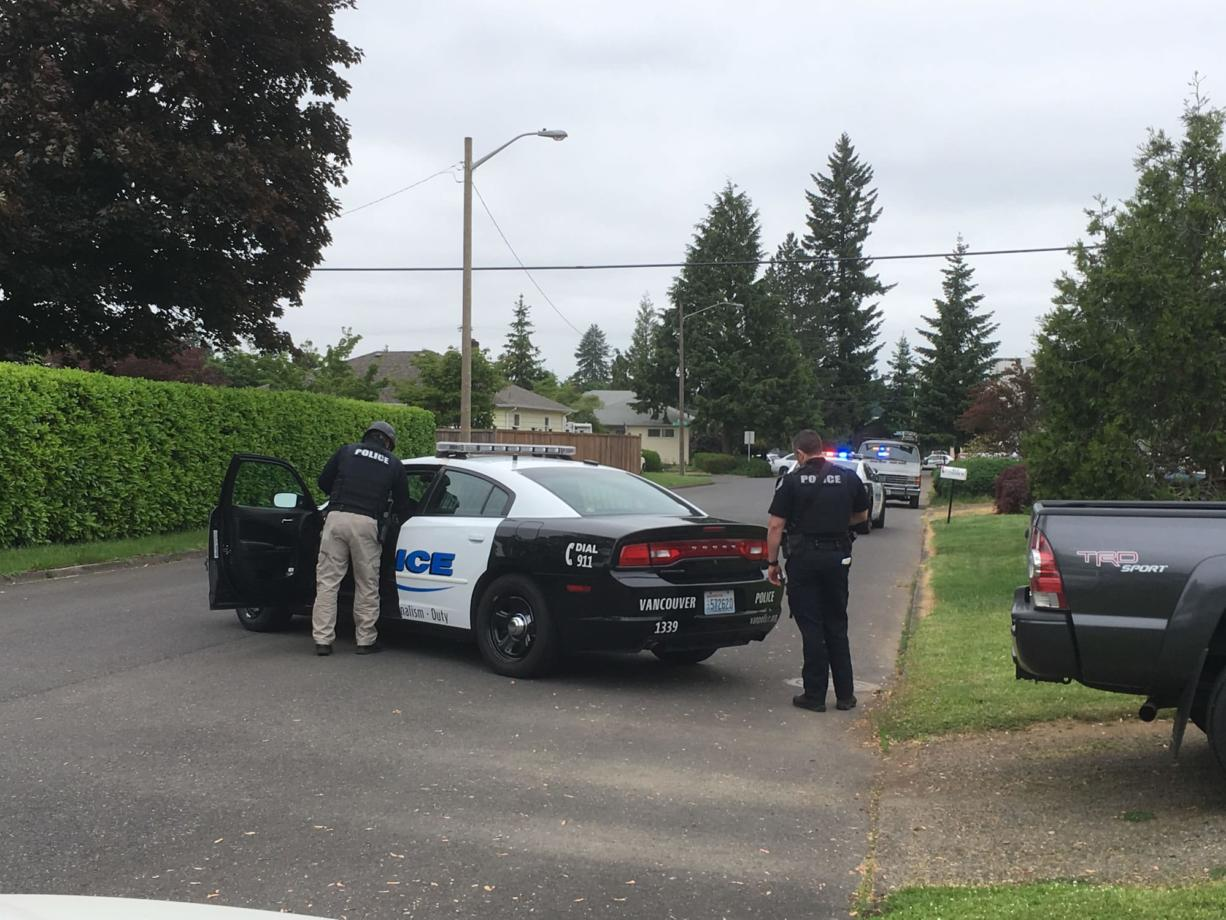 Vancouver police respond to a shooting in the 400 block of Cascade Avenue in May 2017. (Bob Sisson/The Columbian files)