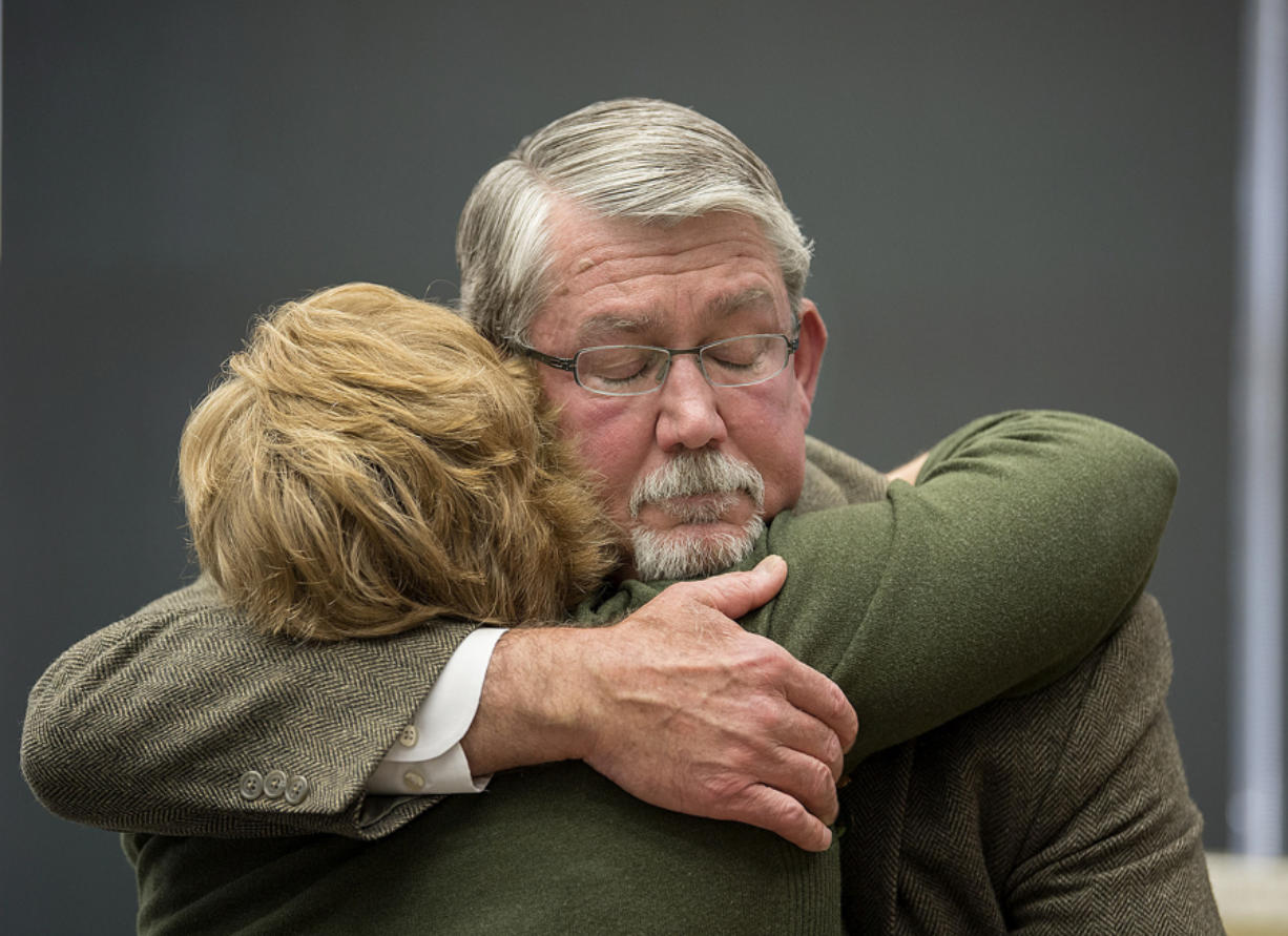 Former Clark County Manager Mark McCauley bids an emotional farewell to supporters May 12.