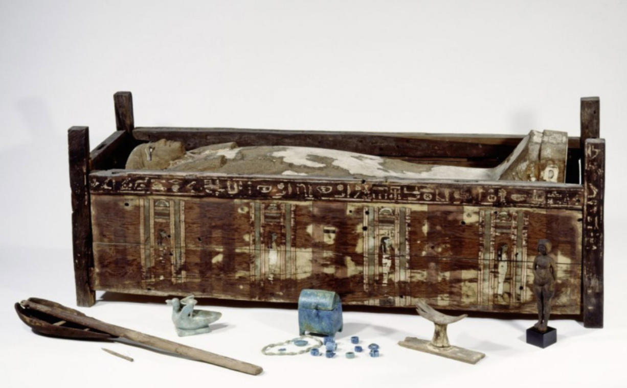 This sarcophagus comes from Abusir el-Meleq, an ancient Nile community. Scientists sampled mummies from this region to study Egyptian genetics.