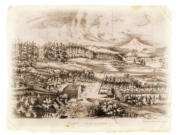 Richard Covington's 1855 engraving shows Fort Vancouver after it was established on Fort Plain, extending east to the forest.