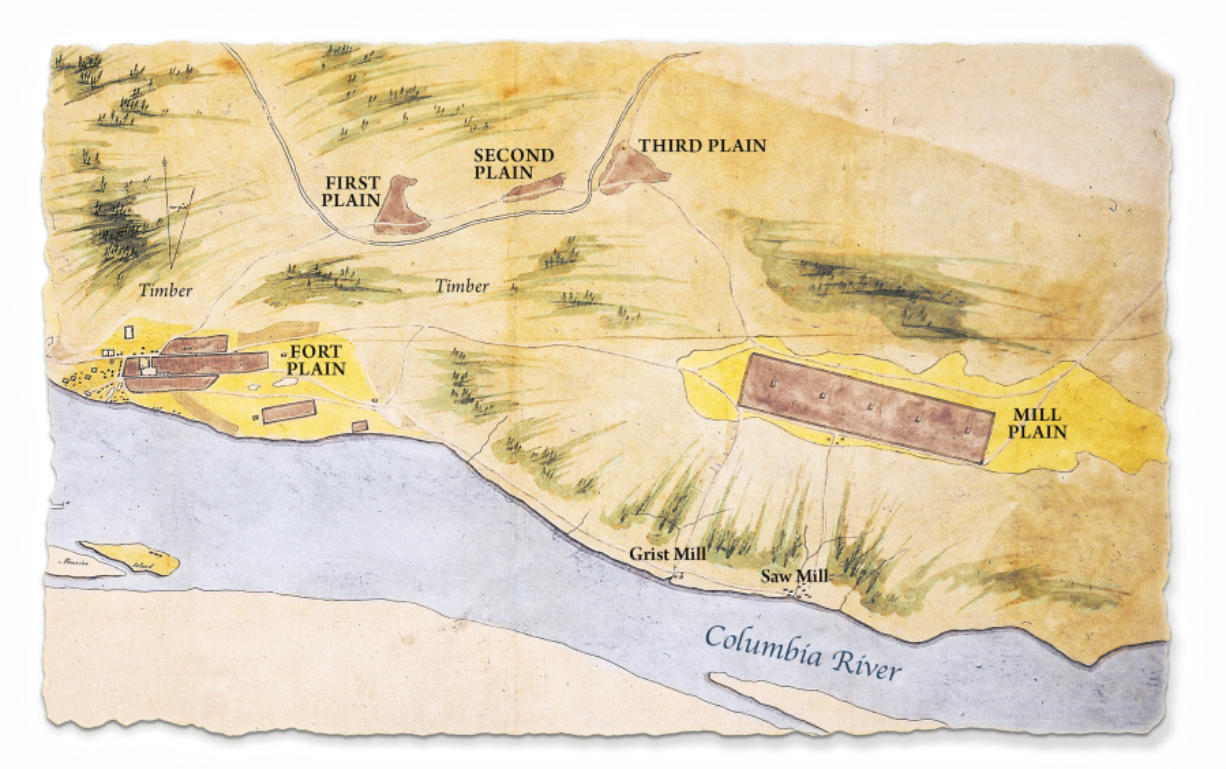 A map showing Fort Vancouver, at lower left, and outlying areas drawn by Richard Covington in 1846 showing several Plains, breaks in the forest cover used for agriculture. Mill Plain is at the far right.