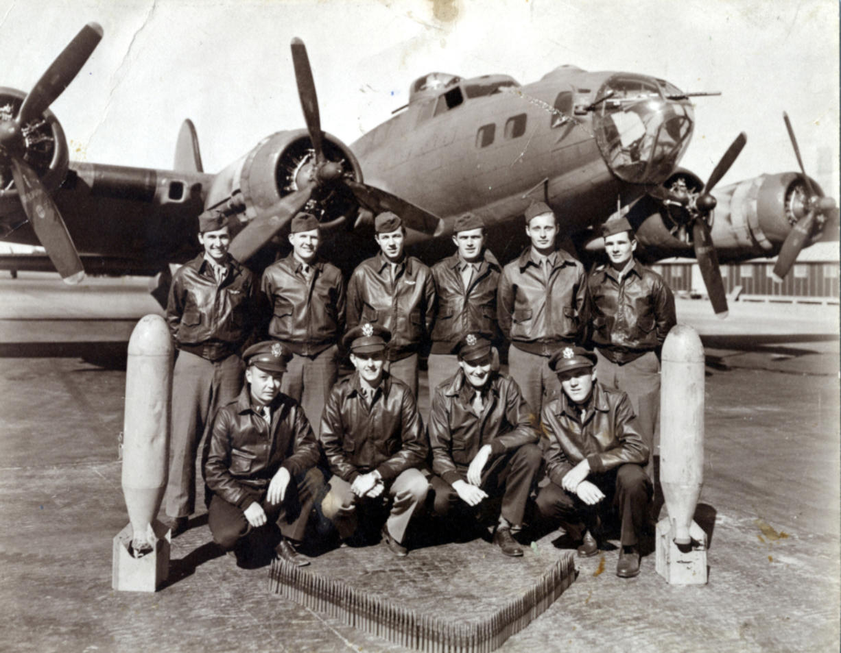 John Luke (back row, third from left) with his B-17 crew in 1944. Luke, a 1942 graduate of Vancouver High School, was drafted during World War II and was credited with 35 missions over Germany.
