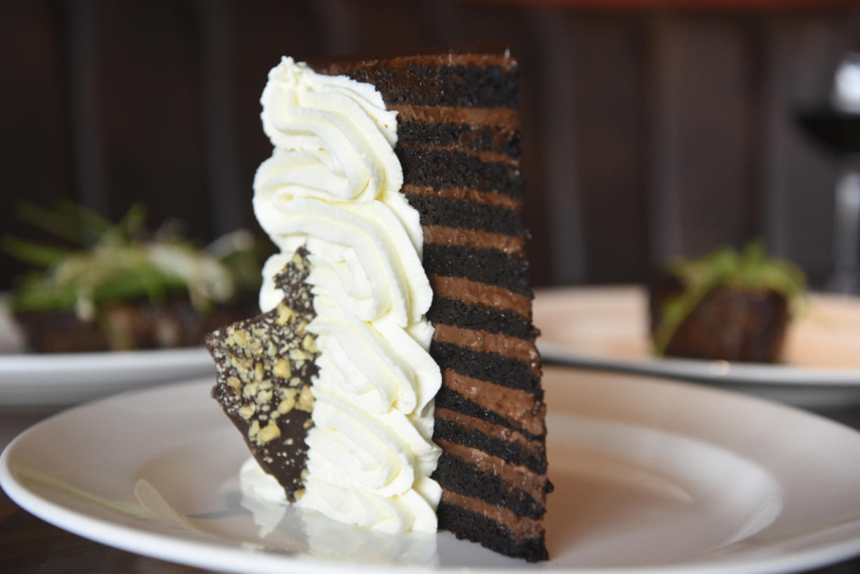 The 23-layer chocolate cake at Michael Jordan's Steak House is not overly sweet and is the perfect ending to a satisfying meal.