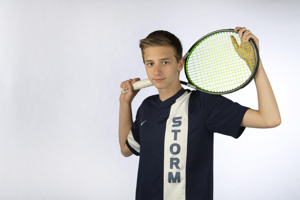 Tennis standout Andrew Kabacy of Skyview High School is pictured at The Columbian on Tuesday afternoon, June 6, 2017.