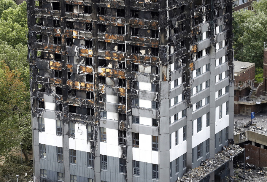 The Burnt Grenfell Tower Apartment Building Standing Testament To Recent Fire In London Friday