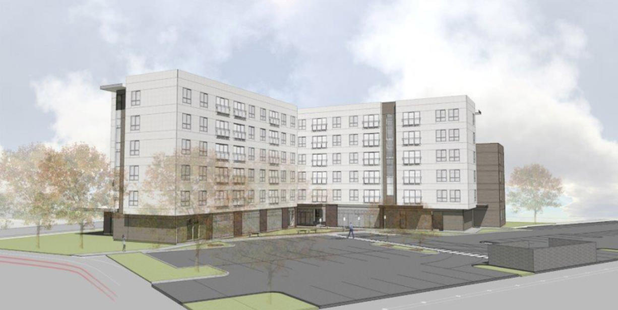 Sea Mar Community Health Centers plans to build a six-story, mixed-use building that includes 70 apartments for low-income households. (Rendering courtesy of Sea Mar)