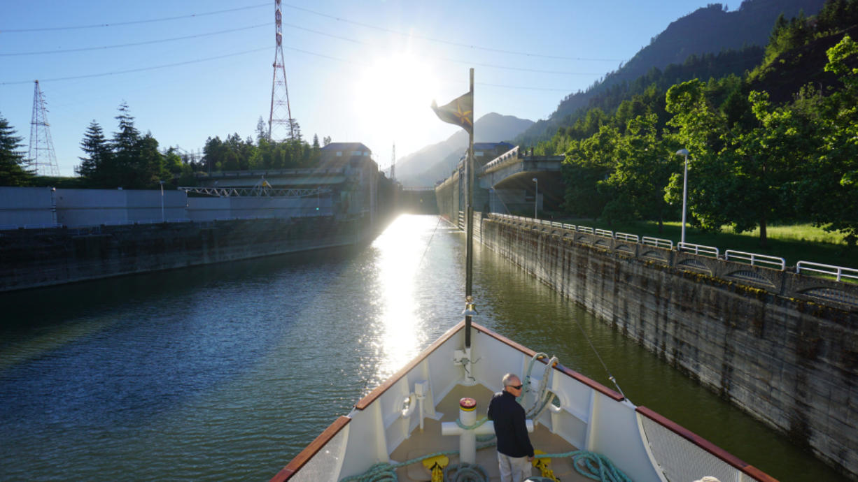 Approaching Bonneville Dam lock, the S.S.Legacy navigates through seven locks up river and seven locks down river on the Rivers of Wine cruise.