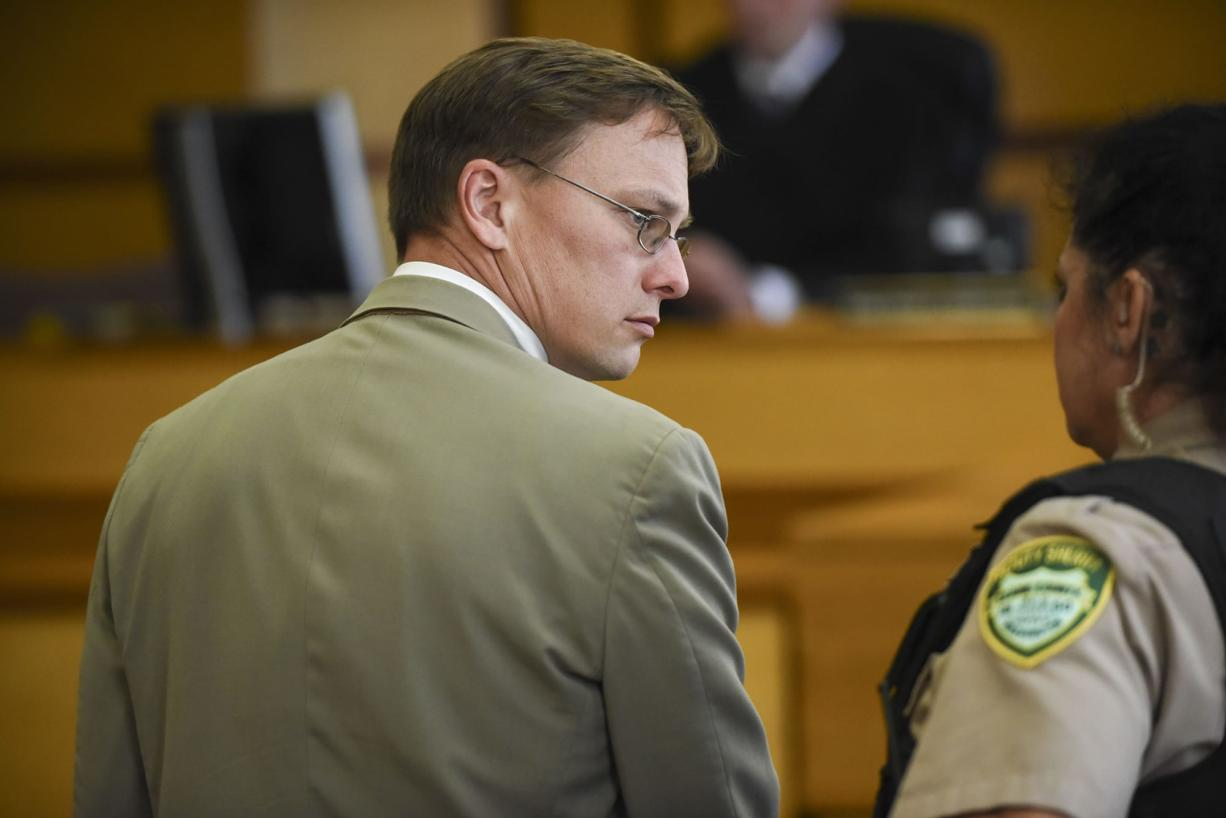 """A Clark County Superior Court jury found former Evergreen High School teacher Matthew Morasch guilty of voyeurism, Wednesday, July 19, 2017, at the Clark County Courthouse. Morasch took """"upskirt"""" video with his cellphone of an unidentified female in the Battle Ground Goodwill and tried to take images of two female students in his class. (Ariane Kunze/The Columbian)"""
