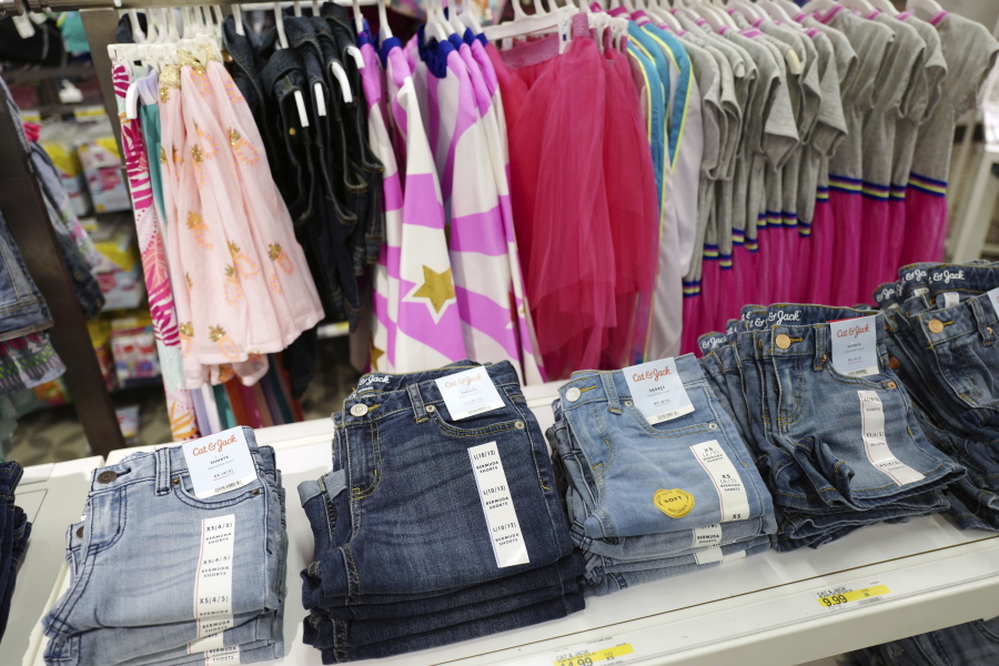 5286da533 Cat & Jack jeans, foreground, appear on display at a Target store in New