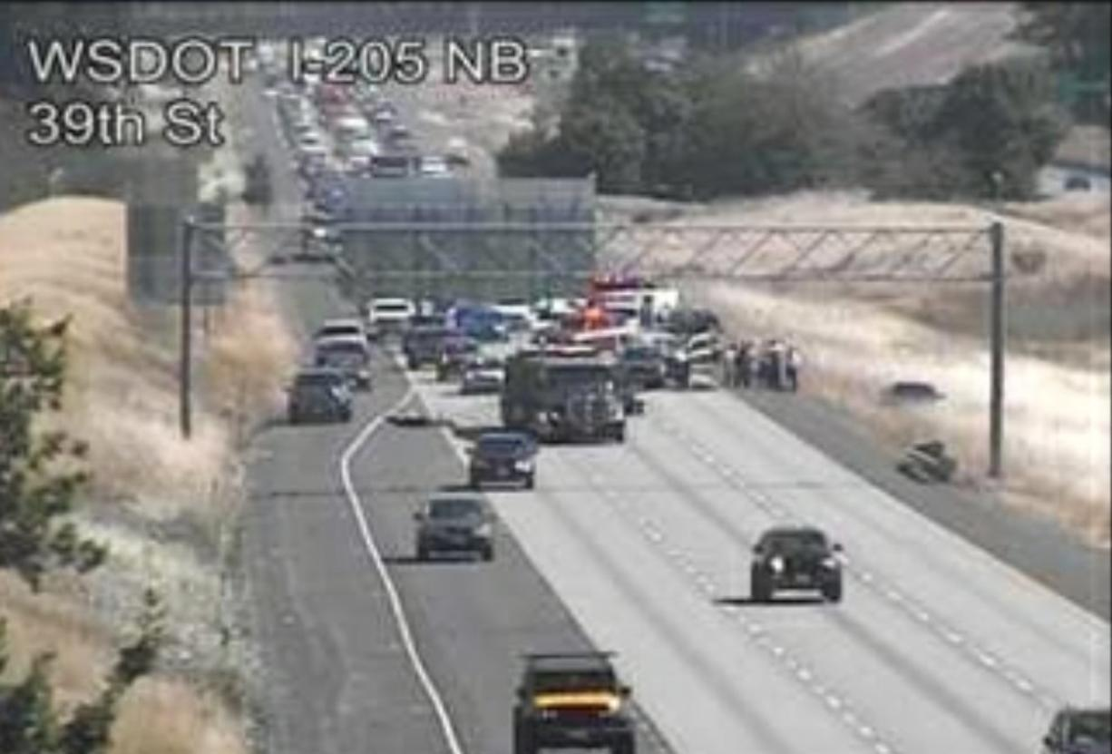 Traffic is blocked Tuesday on Interstate 205 northbound for a fatal crash investigation in this traffic camera photo from the Washington State Department of Transportation.