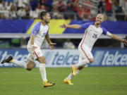 United States' Clint Dempsey, left, celebrates after scoring a goal against Costa Rica during a CONCACAF Gold Cup semifinal soccer match in Arlington, Texas, Saturday, July 22, 2017.