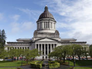 The Washington State Capitol, also known as the Legislative Building, in April in Olympia.(AP Photo/Elaine Thompson)