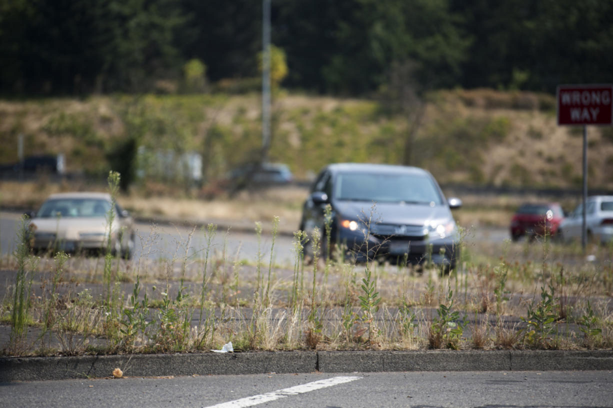 Grass and weeds grow through the cracks and along the edges of the gore on the southbound Interstate 5 Fourth Plain Boulevard exit in Vancouver. Readers wanted to know who owns and who is responsible for vegetated medians and public spaces around roads.
