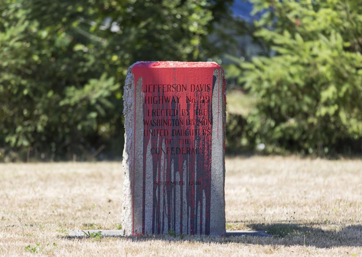 Jefferson Davis highway markers were vandalized at Jefferson Davis Park in Ridgefield, seen Friday afternoon.