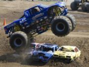 A monster truck crushes on the last day of the Clark County Fair.
