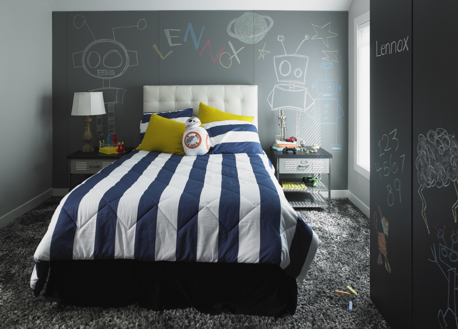 A Childu0027s Bedroom Includes The New Formica Writable Surfaces In The Black  ChalkAble Design And The