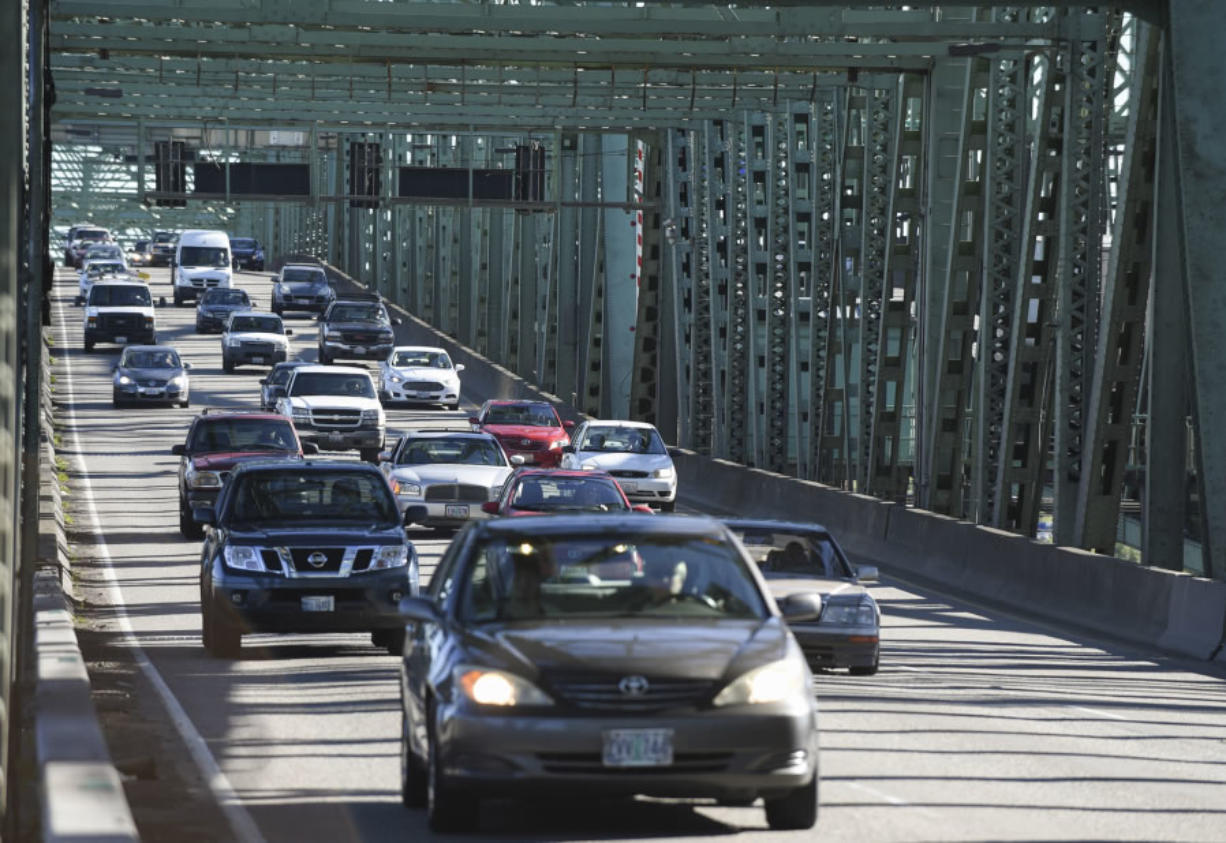 Drivers cross the Interstate 5 Bridge headed north toward Vancouver in May.