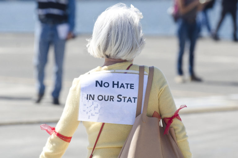 A counter-protester arrives at Joey Gibson's Patriot Prayer Group rally at the Port of Vancouver Amphitheater on Sunday, September 10, 2017. The event was moved to Vancouver from Portland in an attempt to avoid protesters. (Samuel Wilson for the Columbian)