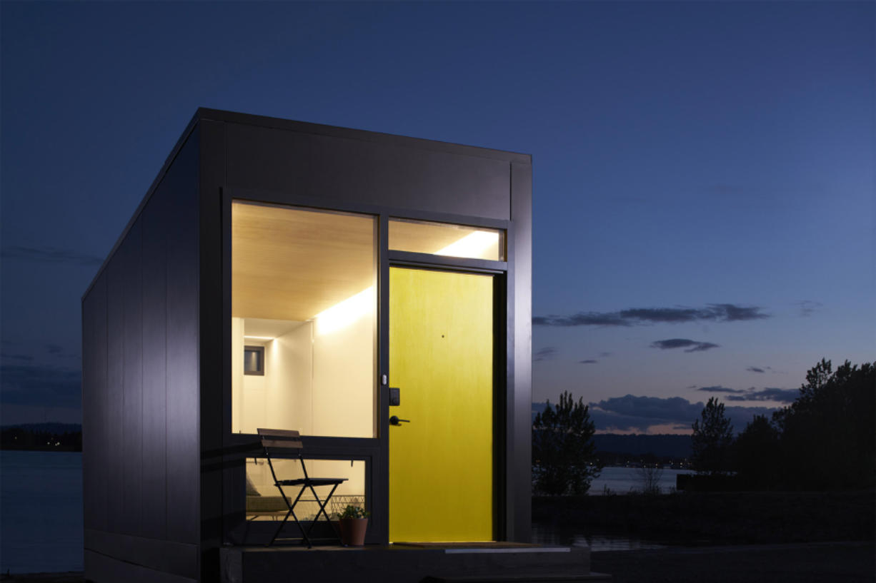 Images of a Blok that was shown in San Francisco and Seattle. The Bloks can be a standalone studio apartment-type dwelling or be joined together to make dwelling spaces.