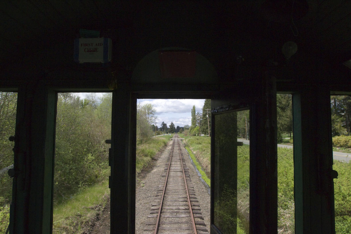 A view from the engine on the Chelatchie Prairie Railroad train in Yacolt in May 2014. (The Columbian files)