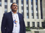 Dave Archambault, chairman of the Standing Rock Sioux Tribe, stands outside a federal appeals court in Washington where judges heard his tribe's challenge to the Dakota Access pipeline. Archambault, the American Indian leader who spearheaded opposition to the four-state Dakota Access pipeline has been ousted as Standing Rock Sioux chairman. Archambault conceded defeat in a statement Thursday, Sept. 28, 2017.