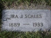 The grave marker for Ira Scales at Park Hill Cemetery in Vancouver. The body of Scales, who died in 1933, was kept at the partly completed Columbia Memorial Mausoleum in Vancouver until 1959, when it was moved with two other bodies to Park Hill Cemetery.