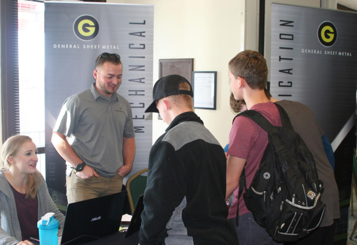 Esther Short: Representatives from General Sheet Metal at Workforce Southwest Washington's Manufacturing Day event on Oct. 3, in which students met with 10 local manufacturing companies.